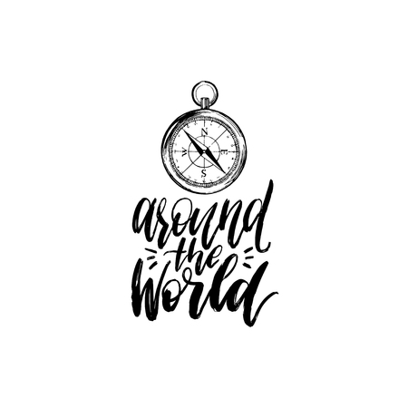 touristic: Around The World hand lettering. Vector travel label template with hand drawn compass illustration. Touristic emblem.