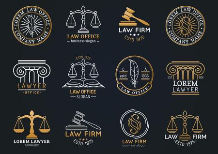 De symbolen van het wetsbureau met schalen van rechtvaardigheid, hamer enz. Illustraties die worden geplaatst. Vector advocaat, advocaat labels etc.