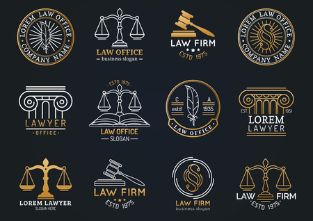 Law office symbols set with scales of justice, gavel etc illustrations. Vector attorney, advocate labels etc. Vettoriali