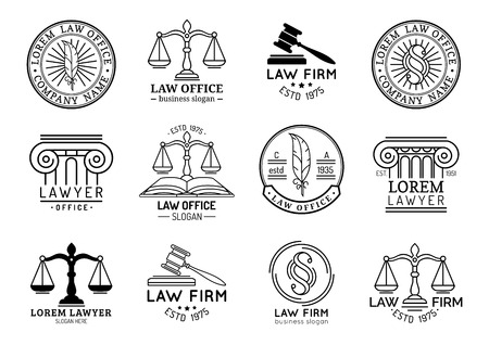 Law office symbols set with scales of justice, gavel etc illustrations. Vector attorney, advocate labels etc. Stock Illustratie