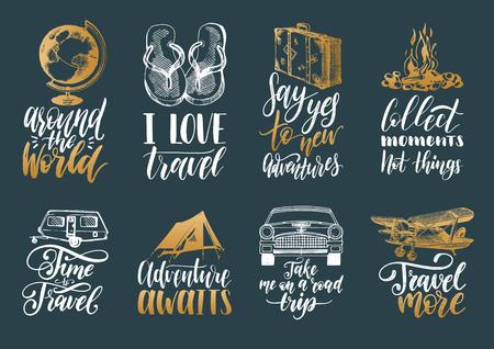 Conjunto de vector de rotulación a mano con frases sobre viajes y bocetos de símbolos turísticos.