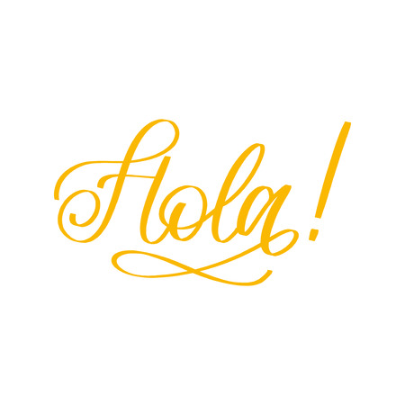 Hand lettering phrase in spanish on white background.