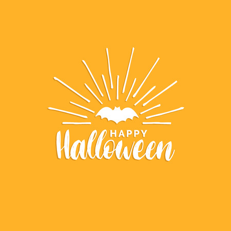Happy Halloween lettering with bat vector illustration for party invitation card, poster. All Saints Eve background. Illustration