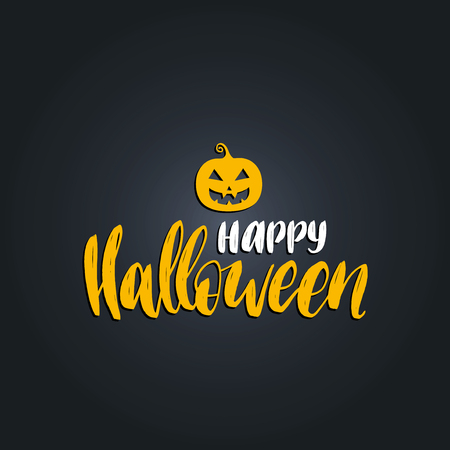 Pumpkin vector illustration with Happy Halloween lettering for party invitation card, poster. All Saints Eve background.