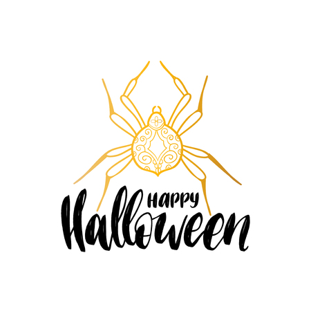 Spider vector illustration with Happy Halloween lettering for party invitation card, poster. All Saints Eve background. Illustration