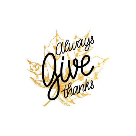 Give Thanks vector lettering on white background. Maple leaf illustration for Thanksgiving invitation or greeting card. Çizim