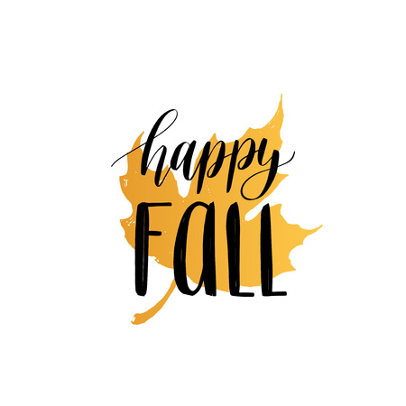 leaf logo: Vector Happy Fall hand lettering. Maple leaf illustration on white background. Typography poster.