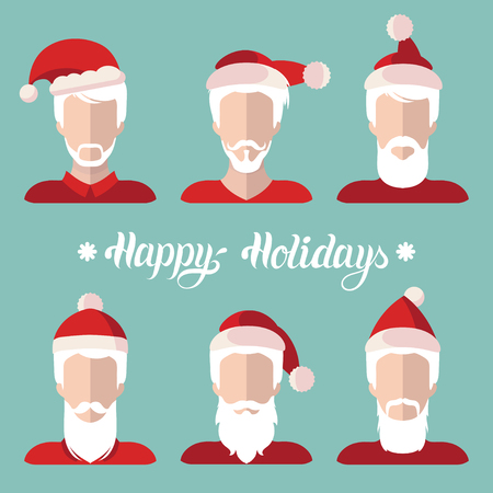 Vector Santa Clauses app icons set in flat style.Xmas illustration with Happy Holidays lettering.New Year greeting card. Illustration