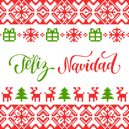 Vector knitted seamless pattern with lettering Feliz Navidad translated Merry Christmas. Happy Holidays pixel endless frame.Colorful Nativity and New Year elements for greeting card template. Ilustrace