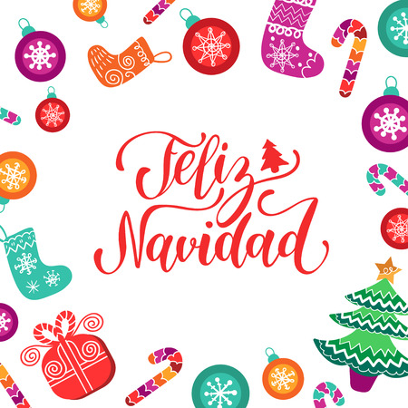 Vector Feliz Navidad translated Merry Christmas lettering with festive New Year elements. Happy Holidays typography.