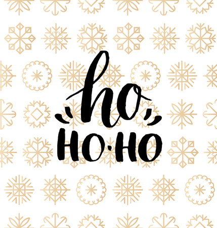 Vector Ho Ho-Ho lettering design on snowflakes background. Christmas seamless pattern. Happy Holidays typography. Illustration