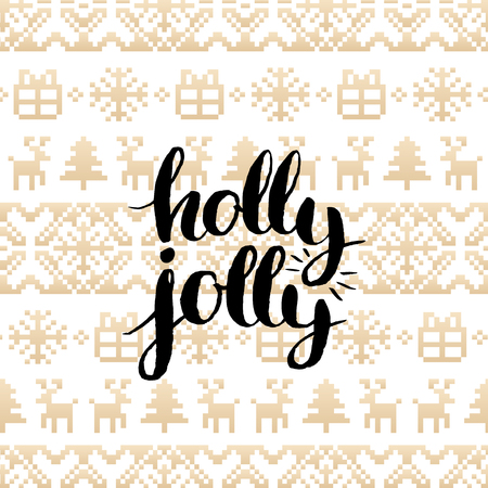 Vector festive knitted seamless pattern with lettering Holly Jolly. Gold Christmas or New Year texture.