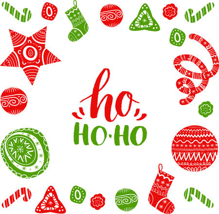 Vector Ho Ho-Ho lettering design with festive New Year elements. Christmas typography for greeting card template.