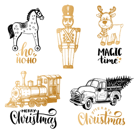 Vector illustrations of Christmas toys. Nativity lettering on white background. New Year images.