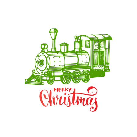 Merry Christmas lettering on white background. Vector hand drawn toy train illustration. Happy Holidays greeting card.