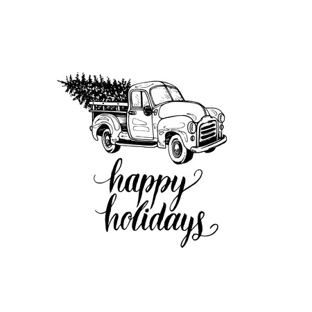Happy Holidays lettering on white background. Vector toy pickup illustration. Merry Christmas greeting card, poster template. Vectores