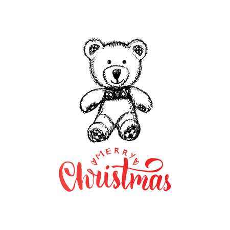 Merry Christmas lettering on white background. Vector hand drawn illustration of toy plush bear. Happy Holidays greeting card, poster template.
