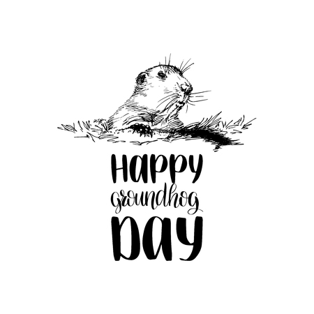 Vector Happy Groundhog Day sketched illustration with hand lettering. February 2 greeting card, poster etc