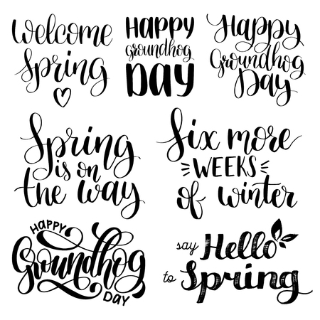Set of Groundhog Day handwritten phrases.