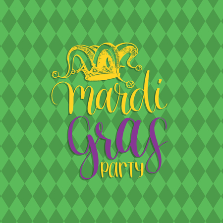 Mardi Gras vector hand lettering greeting card. Fat Tuesday poster with Jester Hat illustration. Carnival background.
