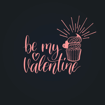 Be My Valentine phrase on black background. February 14 handwritten lettering card. Vector modern calligraphy.