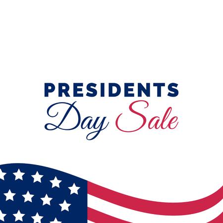 Happy Presidents Day Sale handwritten phrase in vector. National american holiday illustration with USA flag.