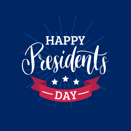 Happy Presidents Day handwritten phrase in vector. Used for holiday poster, greeting card etc. National American festive illustration.