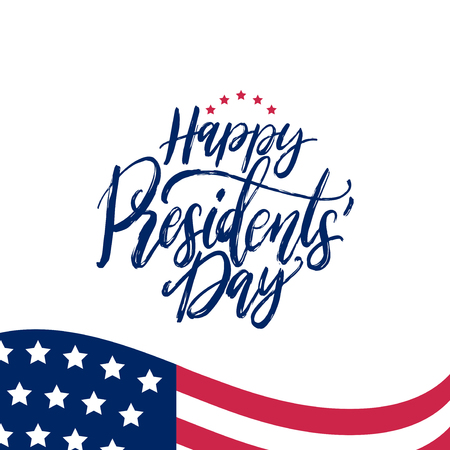 Happy Presidents Day handwritten phrase in vector. National holiday illustration with USA flag on white background.