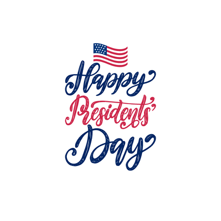 Happy Presidents Day Sale handwritten phrase in vector. National american holiday illustration with USA flag. Stock Vector - 94211505