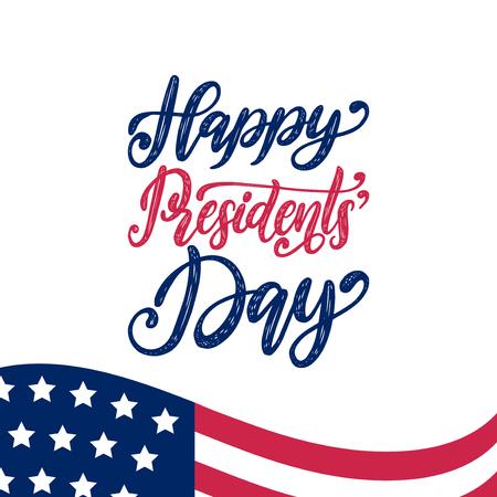 ハッピープレジデントデーはベクトルで手書きのフレーズ。白い背景にアメリカの旗を持つ国民アメリカの休日のイラスト。お祝いのポスター、グ