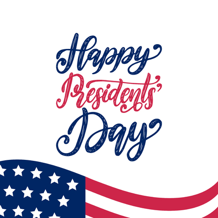 Happy Presidents Day handwritten phrase in vector. National american holiday illustration with USA flag on white background. Festive poster, greeting card etc. Illustration