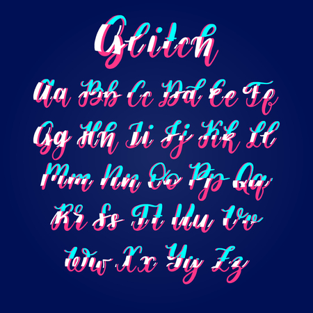 Font with glitch vector hand lettering alphabet with distortion. Calligraphy letters on blue background.