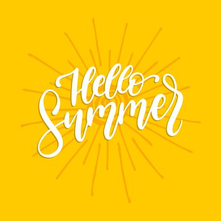 Hand lettering Hello Summer.