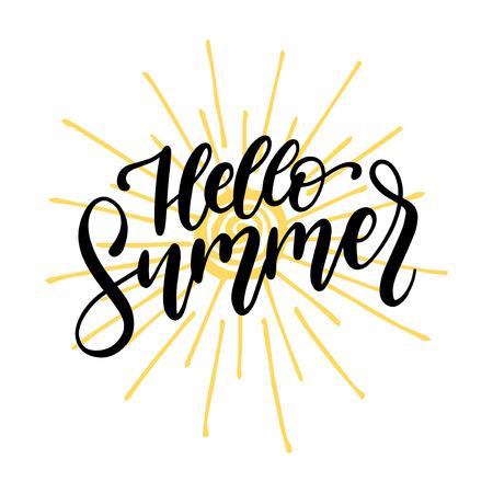 Hand lettering Hello Summer. Vector inspirational phrase on white background Illustration