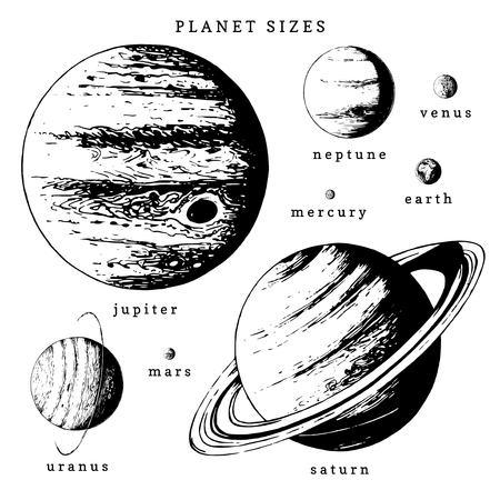 Solar system infographics in vector. Hand drawn illustration of planets in size comparison Çizim