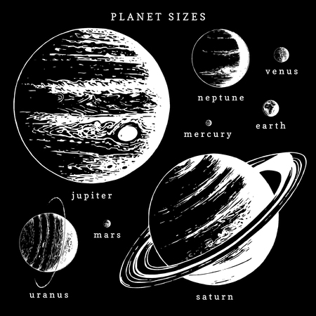 Solar system infographics in vector. Hand drawn illustration of planets in size comparison  イラスト・ベクター素材
