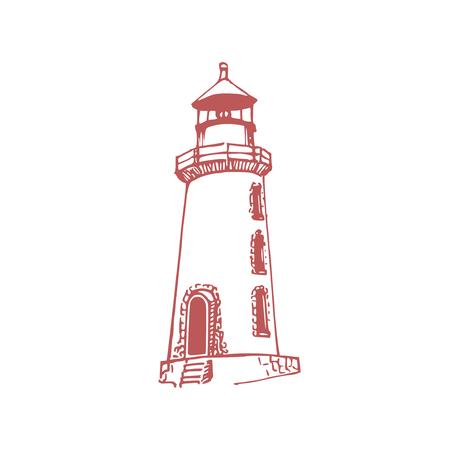 Drawn illustration of lighthouse in vector. Marine background. Naval symbol Illustration
