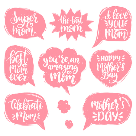 Vector set of Mothers Day hand lettering in speech bubbles for greeting cards, posters. Calligraphy collection I Love You, Celebrate Mom etc.
