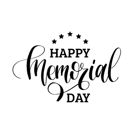 Happy Memorial Day handwritten phrase in vector. National american holiday illustration with stars. Vectores