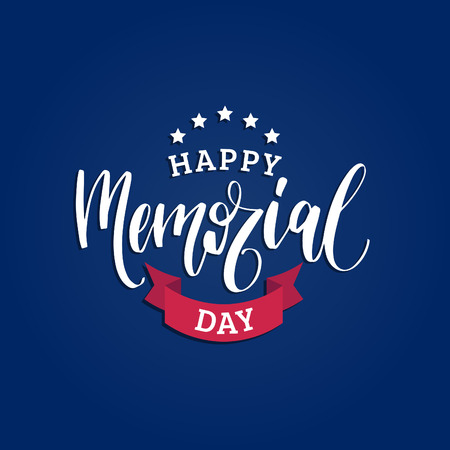 Happy Memorial Day handwritten phrase in vector. National american holiday illustration with stars and ribbon.