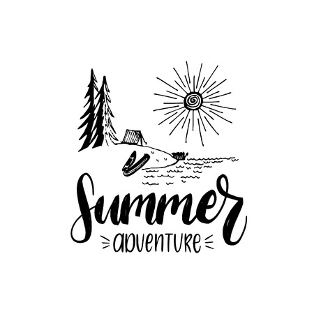 Summer adventure poster with lettering. Vector touristic label with hand drawn forest lake illustration. Camp emblem.
