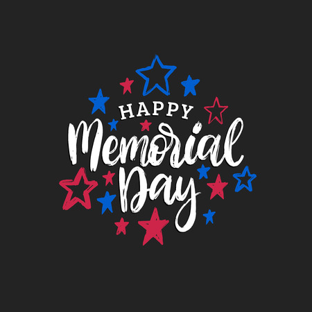Happy Memorial Day handwritten phrase in vector. National american holiday illustration with color stars. Vectores