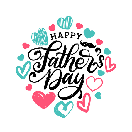 Happy Fathers Day hand lettering on decorative hearts background. Vector calligraphic inscription.