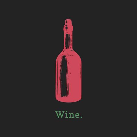 Vector illustration of wine bottle. Hand drawn sketch of alcoholic beverage for cafe, bar label, restaurant menu.
