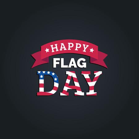 Concepto de diseño de feliz día de la bandera. Ilustración de vector de fiesta nacional americana con bandera de Estados Unidos. Se utiliza para carteles, tarjetas, etc.