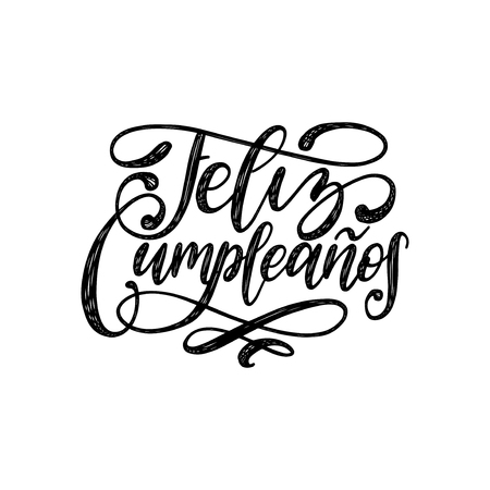 Feliz Cumpleanos translated from Spanish Happy Birthday hand lettering. Vector illustrationu used for greeting card etc.