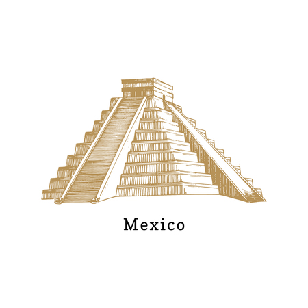 Hand sketched Aztec pyramid. Vector illustration of Mexican tourist attraction.Latin American travel symbol.