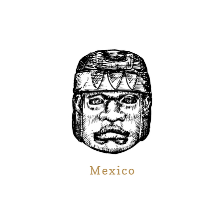 Hand sketched Olmec stone head. Vector illustration of Mexican tourist attraction.Latin American travel symbol.