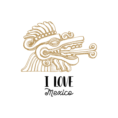 Handwritten phrase I Love Mexico with drawn Aztec bas relief. Vector illustration of Mexican tourist attraction.