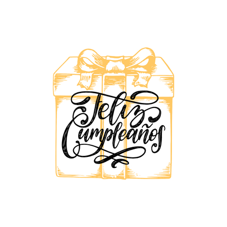 Feliz Cumpleanos translated from Spanish Happy Birthday hand lettering. Drawn illustration of gift box.